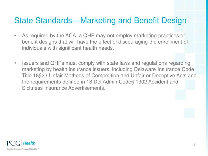 State Standards—Marketing and Benefit Design