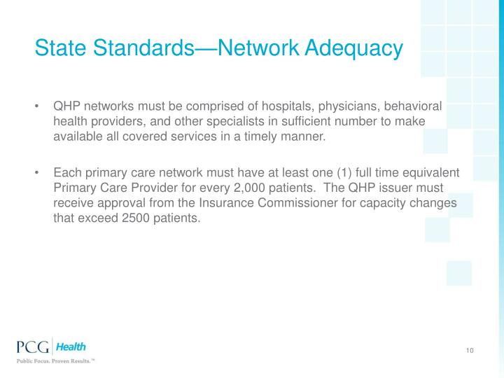 State Standards—Network Adequacy