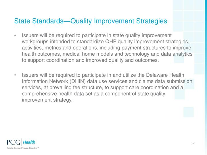 State Standards—Quality Improvement Strategies