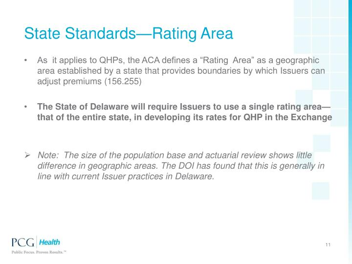 State Standards—Rating Area