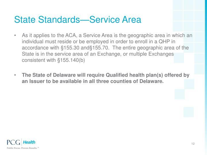 State Standards—Service Area