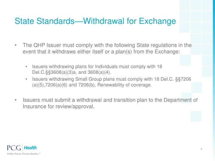 State Standards—Withdrawal for Exchange