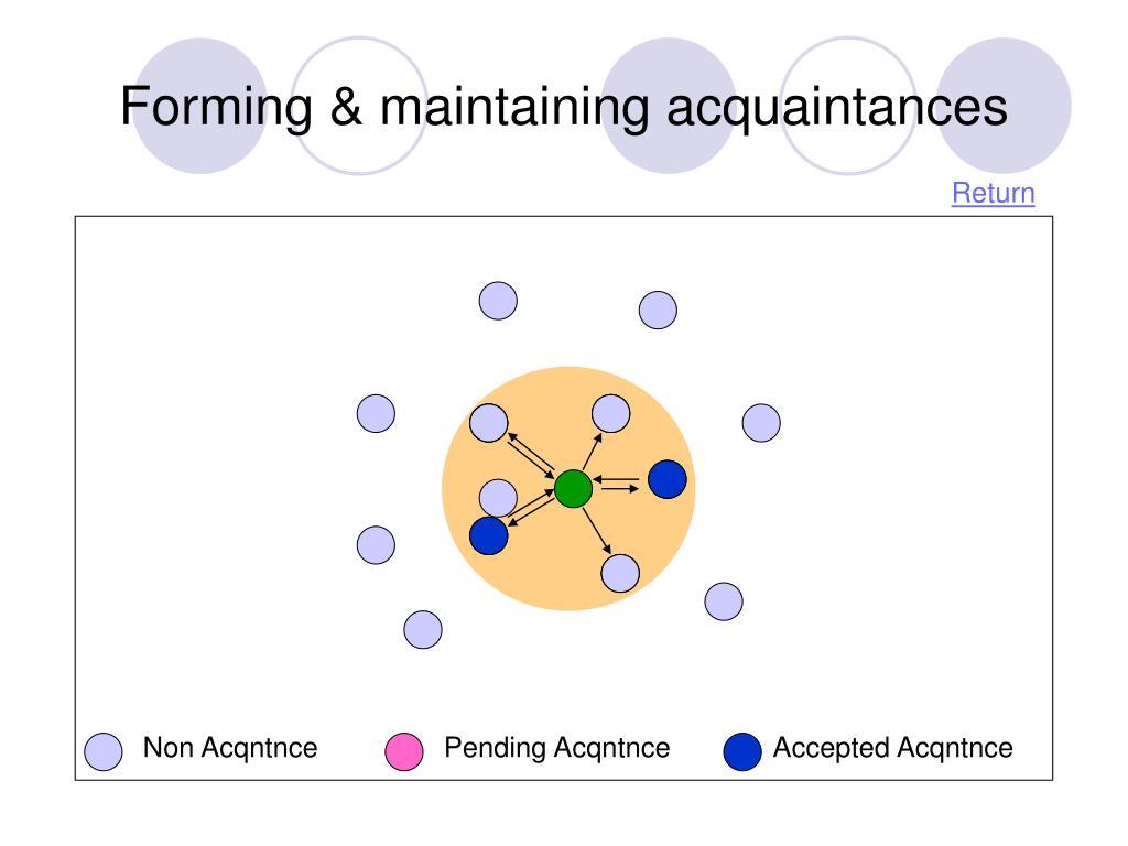 Forming & maintaining acquaintances
