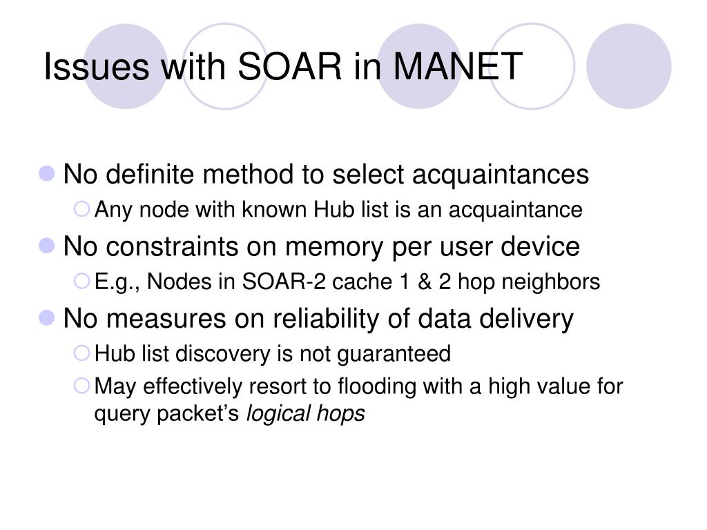 Issues with SOAR in MANET