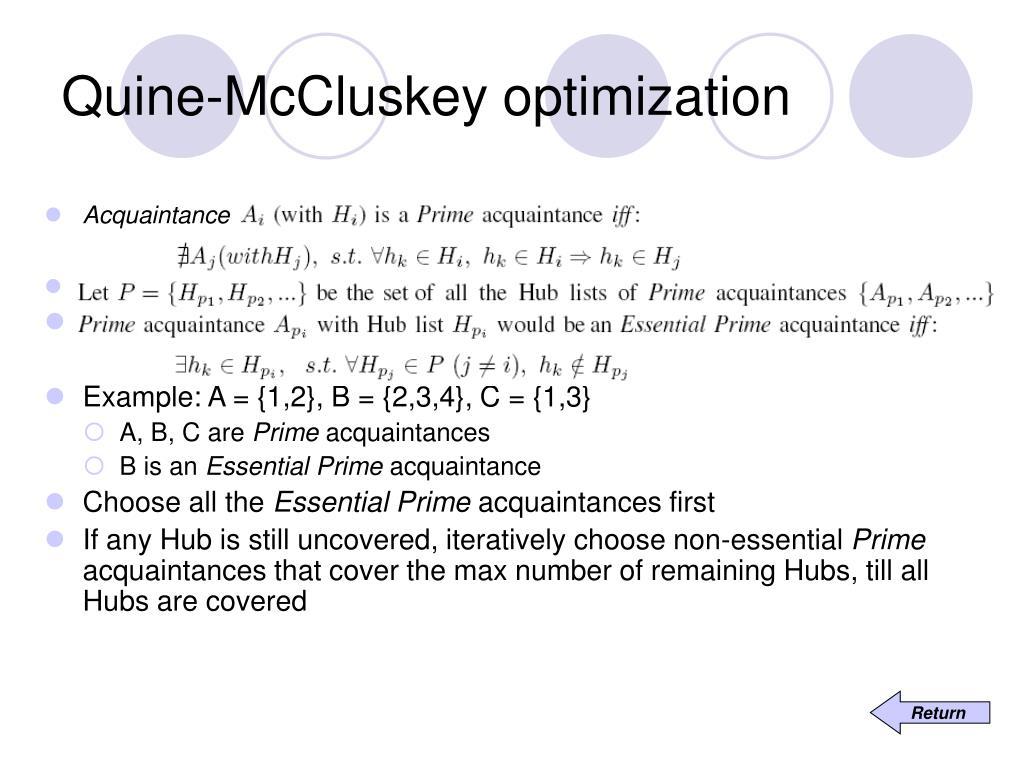 Quine-McCluskey optimization