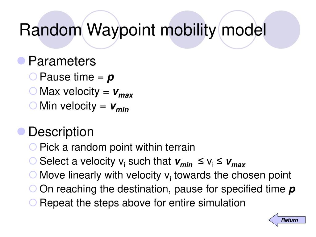 Random Waypoint mobility model