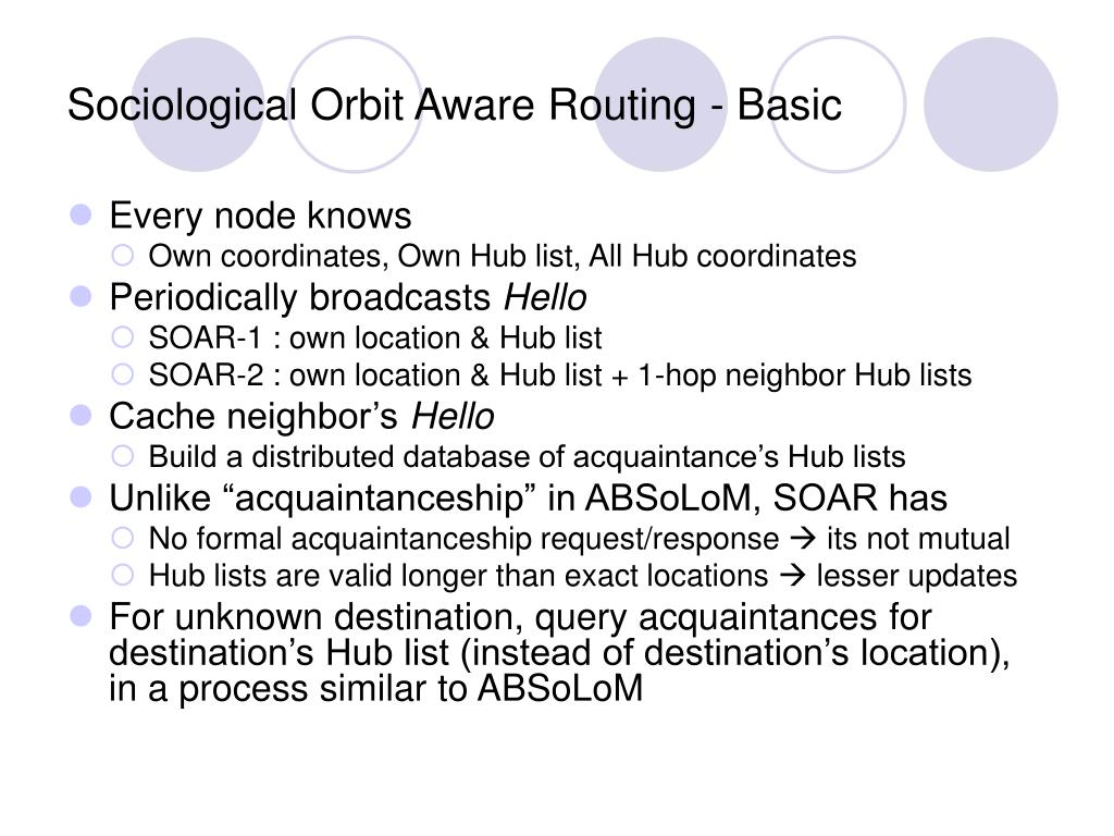 Sociological Orbit Aware Routing - Basic