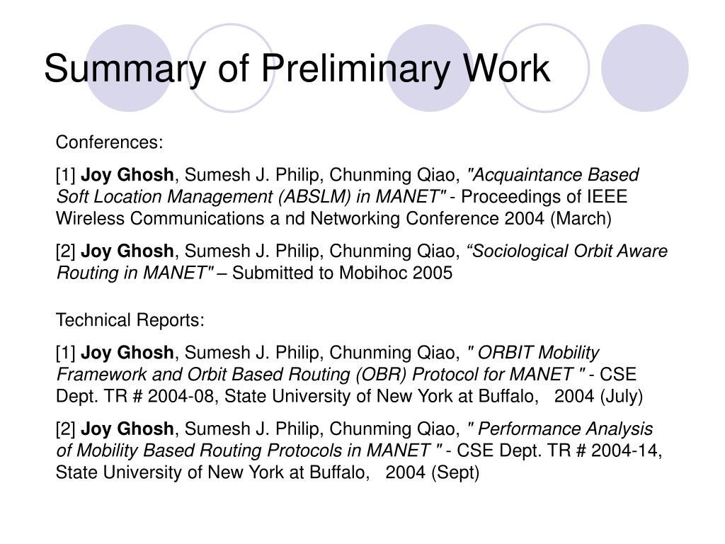 Summary of Preliminary Work
