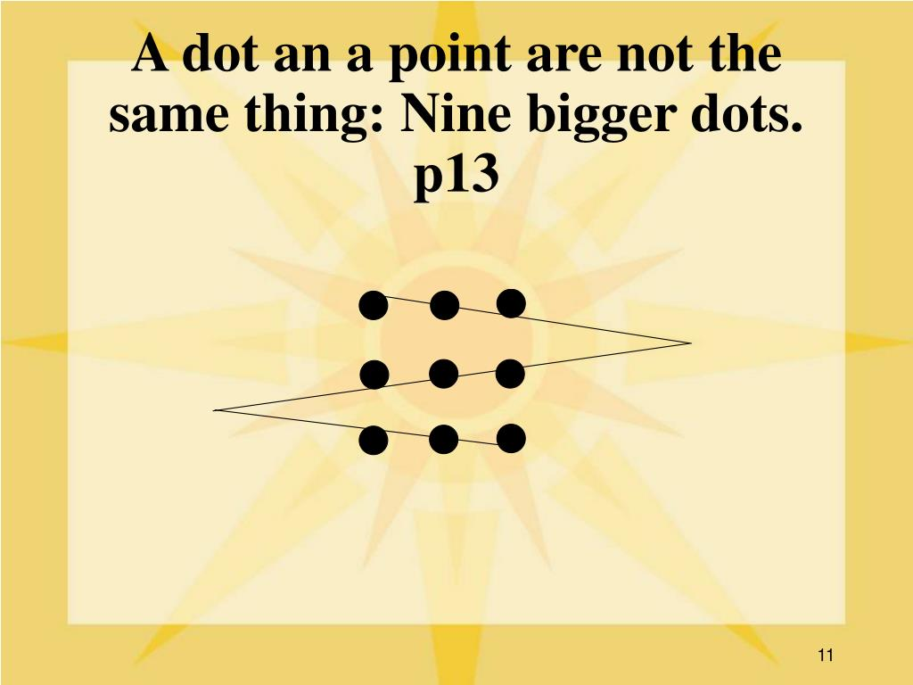 A dot an a point are not the same thing: Nine bigger dots. p13