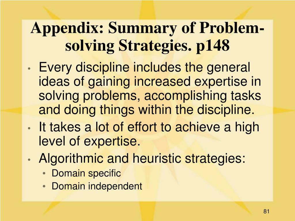 Appendix: Summary of Problem-solving Strategies. p148