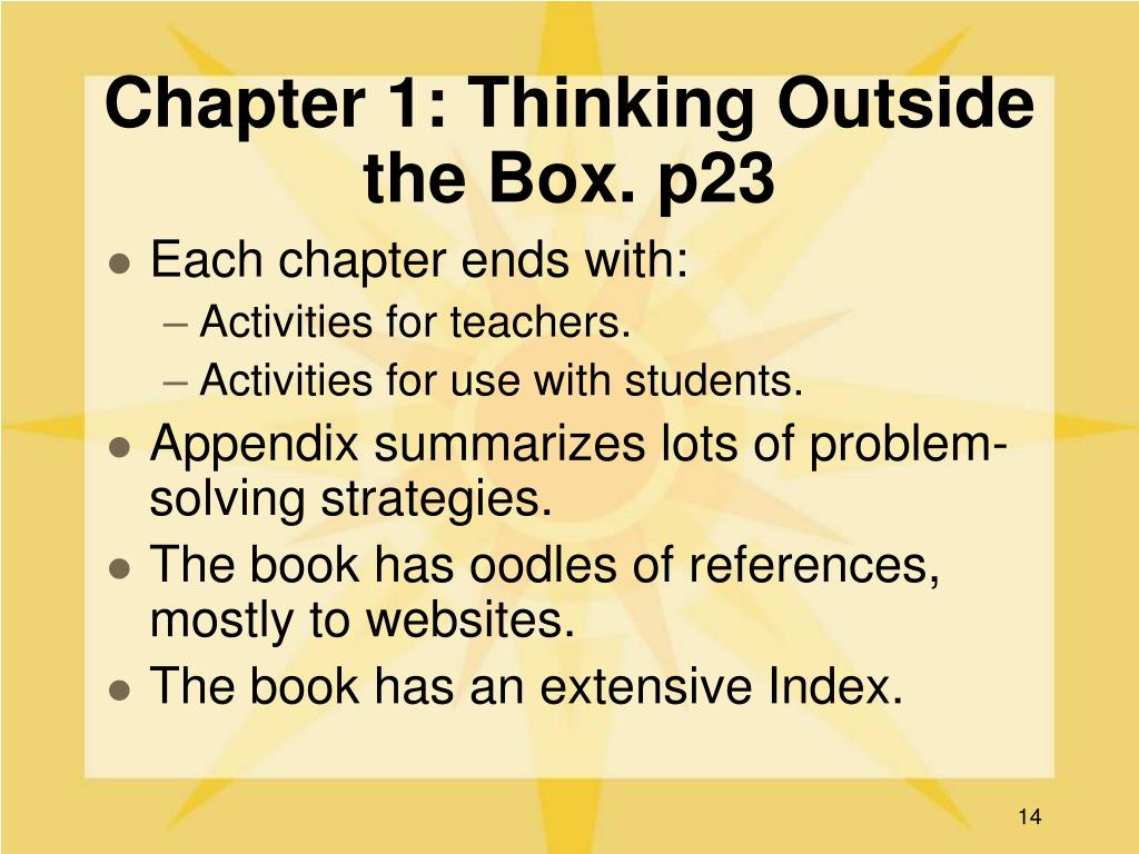 Chapter 1: Thinking Outside the Box. p23