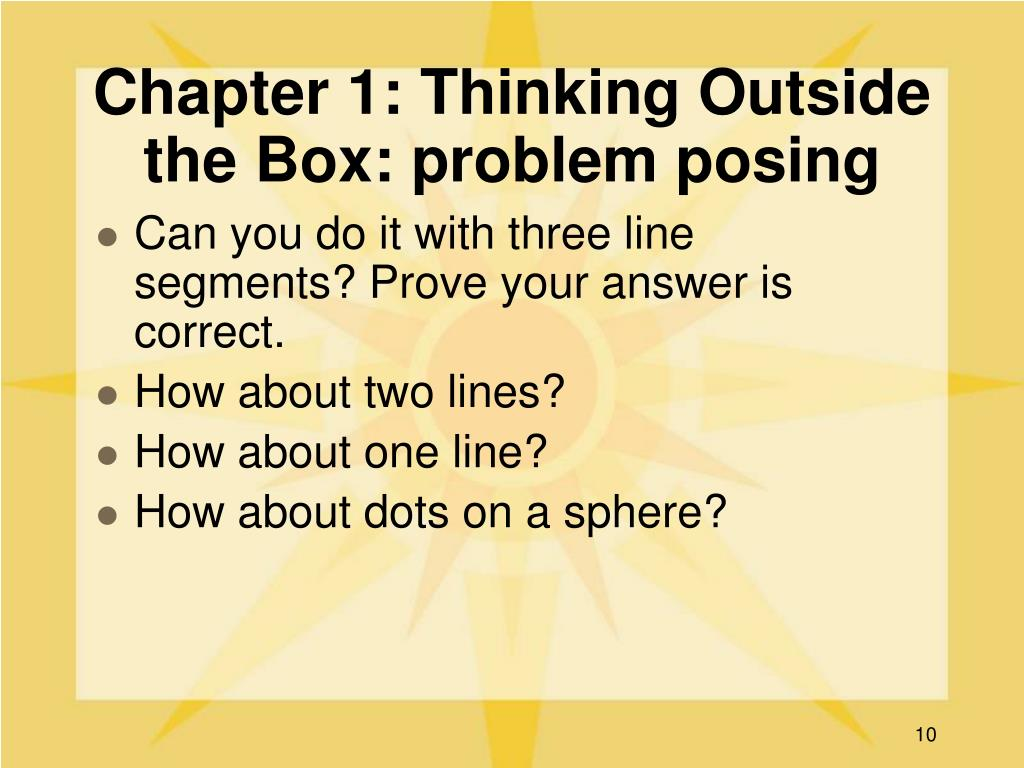 Chapter 1: Thinking Outside the Box: problem posing