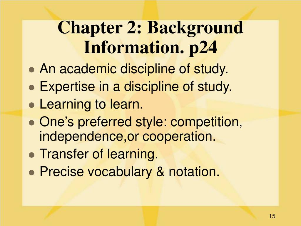 Chapter 2: Background Information. p24