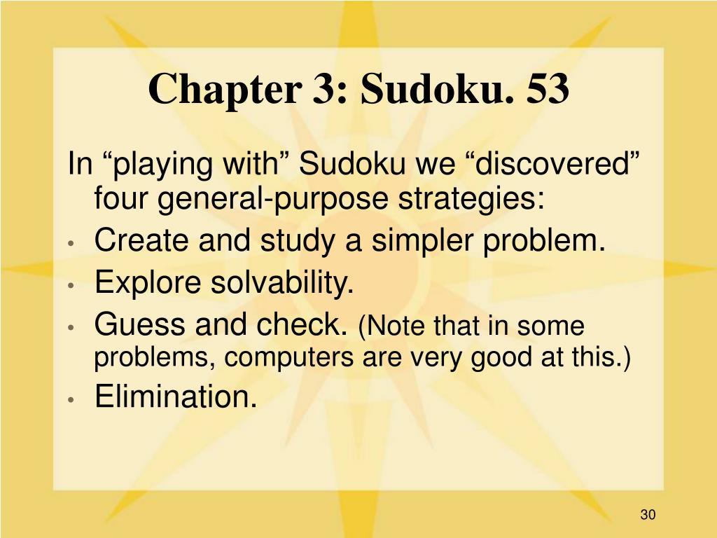 Chapter 3: Sudoku. 53