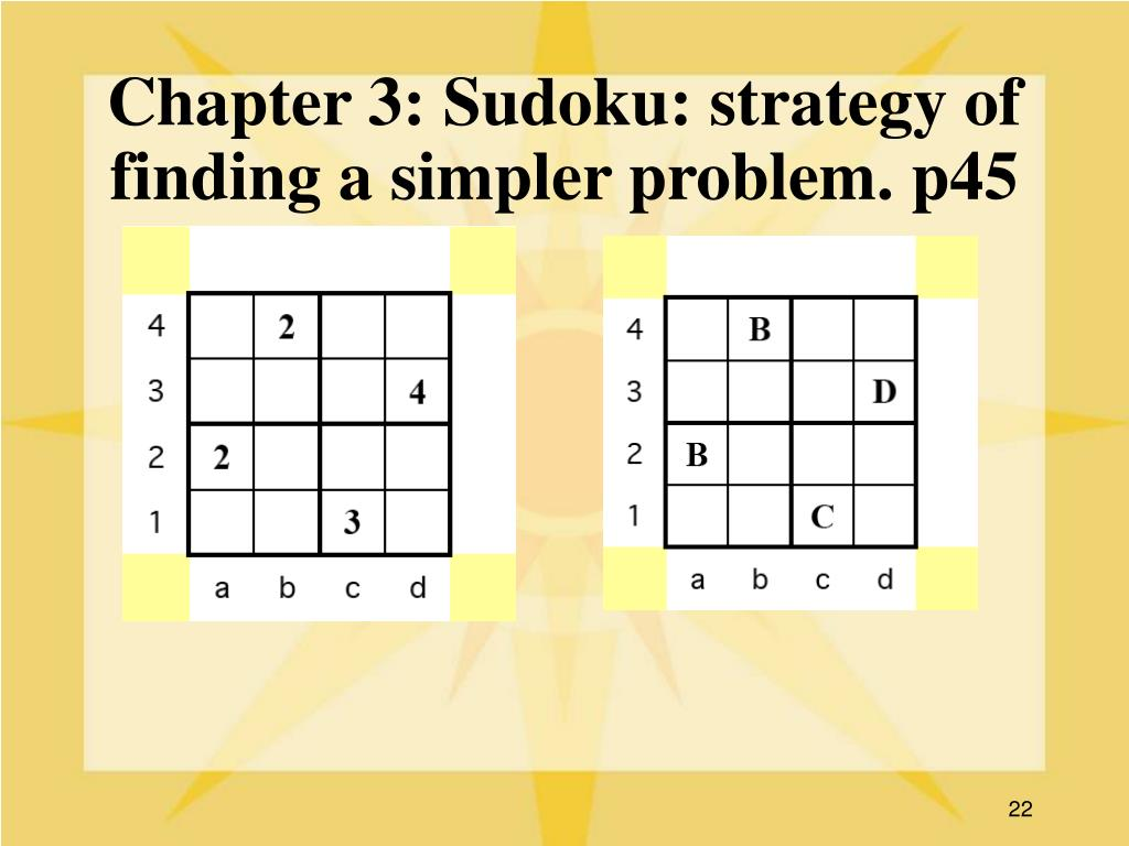 Chapter 3: Sudoku: strategy of finding a simpler problem. p45