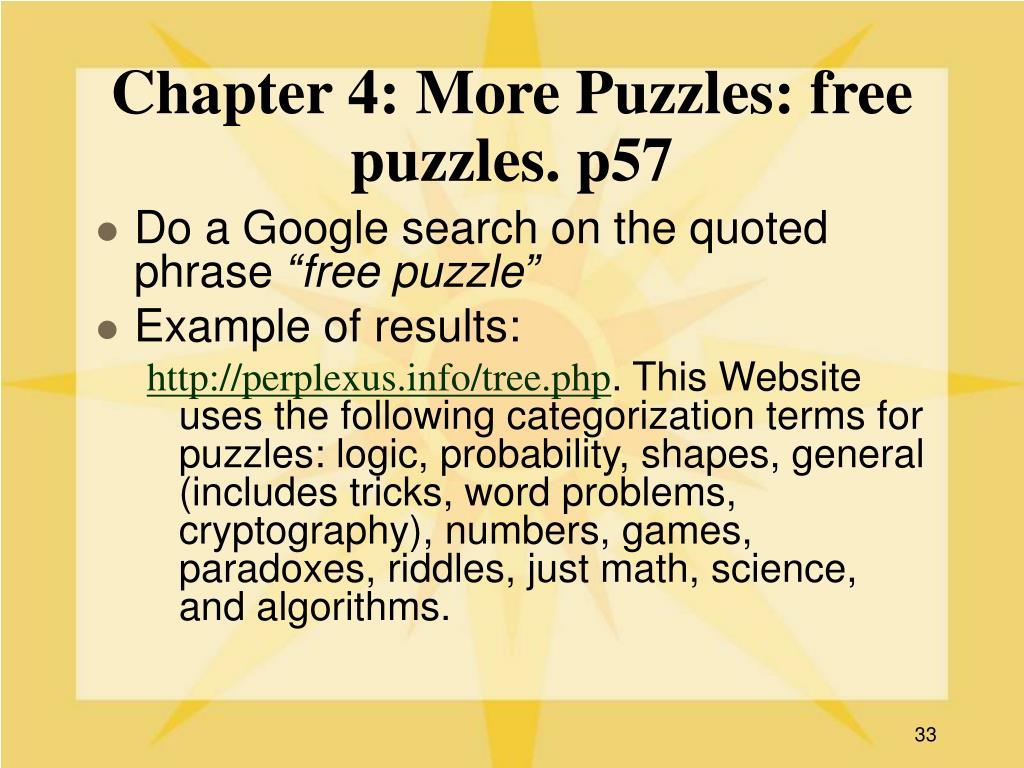Chapter 4: More Puzzles: free puzzles. p57
