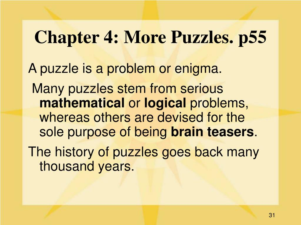 Chapter 4: More Puzzles. p55
