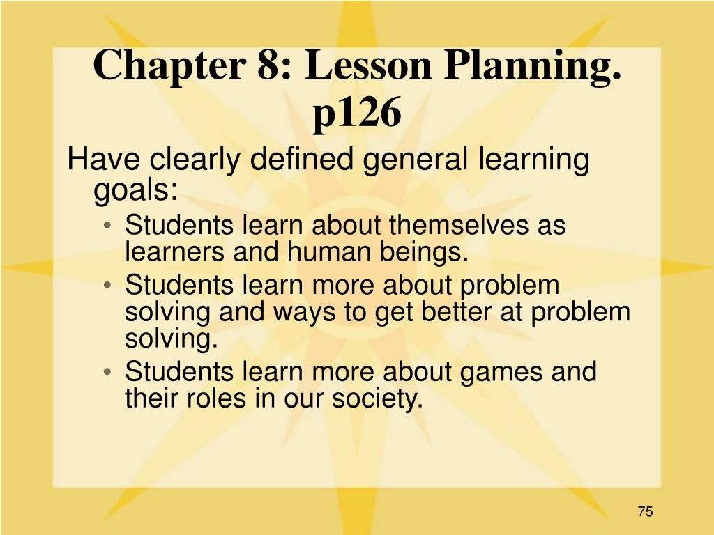 Chapter 8: Lesson Planning. p126