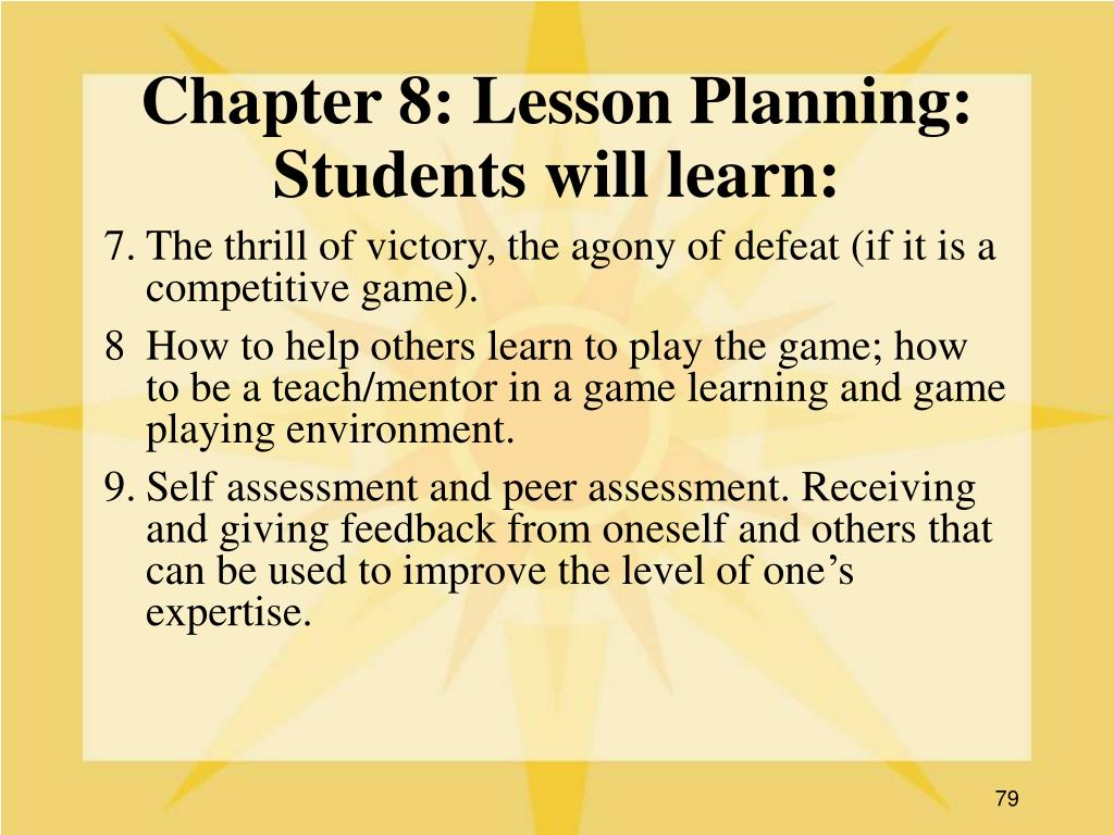 Chapter 8: Lesson Planning: