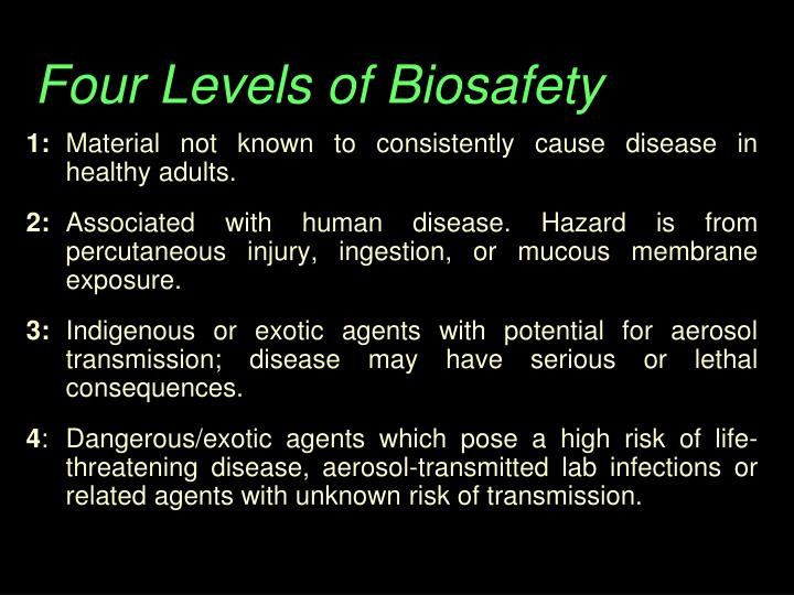 Four Levels of Biosafety