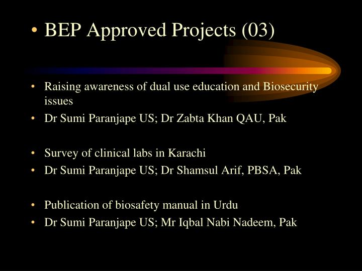 BEP Approved Projects (03)