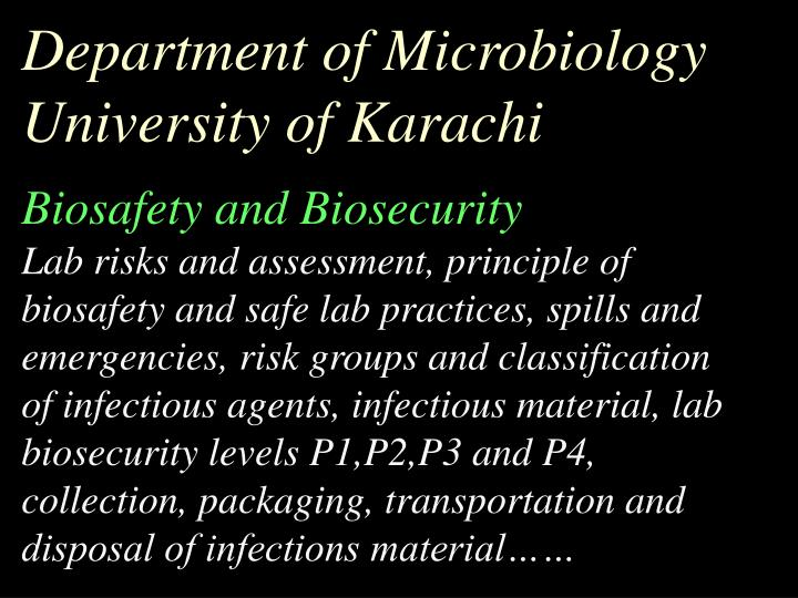 Department of Microbiology University of Karachi