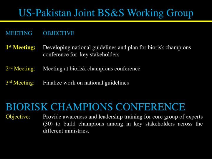 US-Pakistan Joint BS&S Working Group