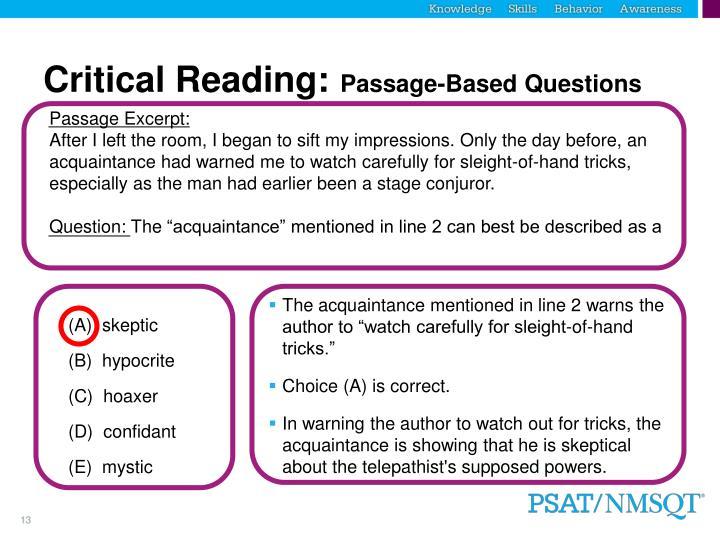 Critical Reading: