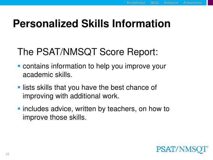 Personalized Skills Information