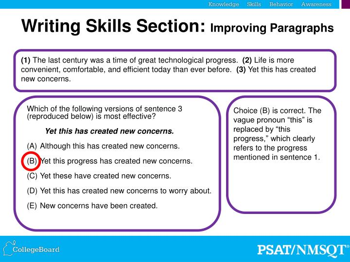 Writing Skills Section: