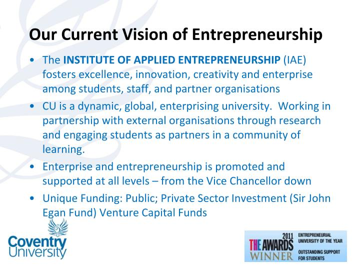 Our Current Vision of Entrepreneurship