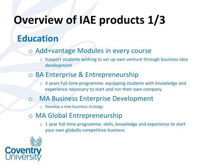 Overview of IAE products 1/3