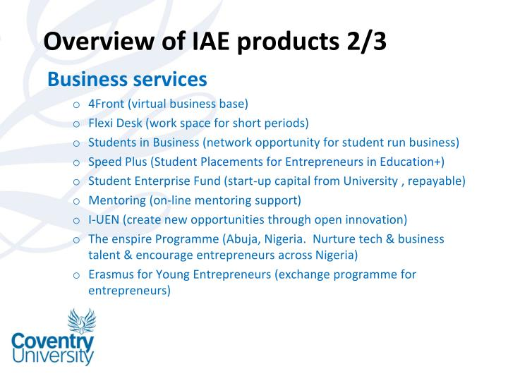 Overview of IAE products 2/3