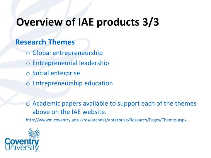 Overview of IAE products 3/3