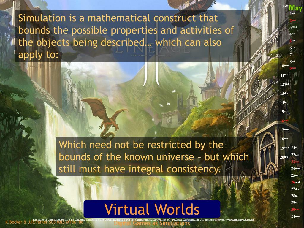 Simulation is a mathematical construct that bounds the possible properties and activities of the objects being described… which can also apply to: