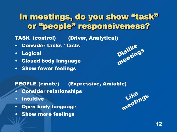 "In meetings, do you show ""task"""