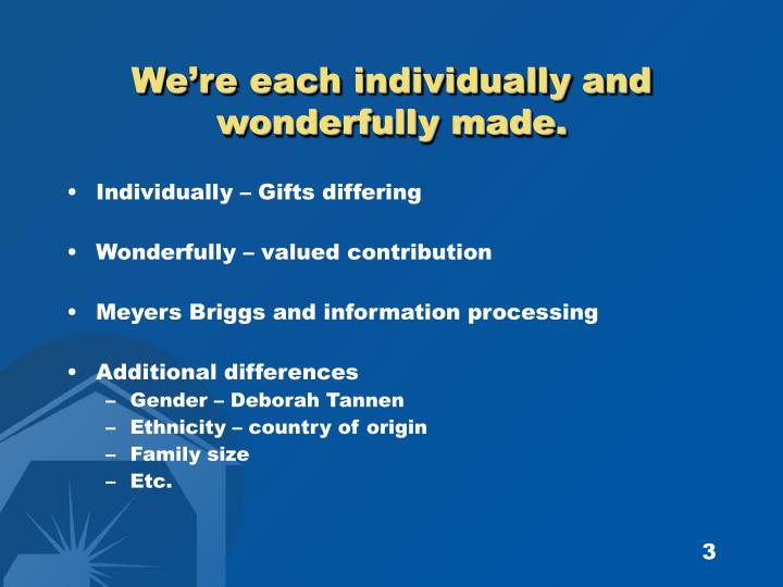 We re each individually and wonderfully made