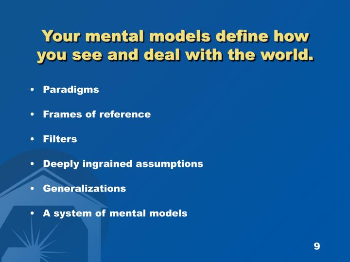 Your mental models define how you see and deal with the world.