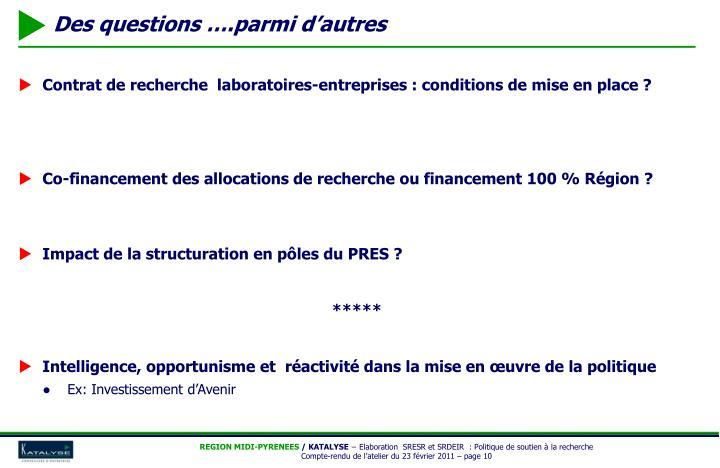 Contrat de recherche  laboratoires-entreprises : conditions de mise en place ?
