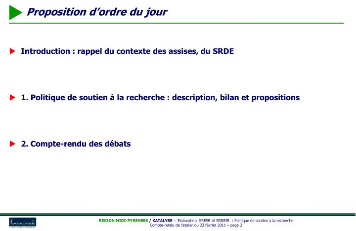 Introduction : rappel du contexte des assises, du SRDE