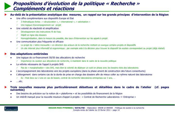 Au-delà de la présentation analytique des  mesures,  un rappel sur les grands principes  d'intervention de la Région