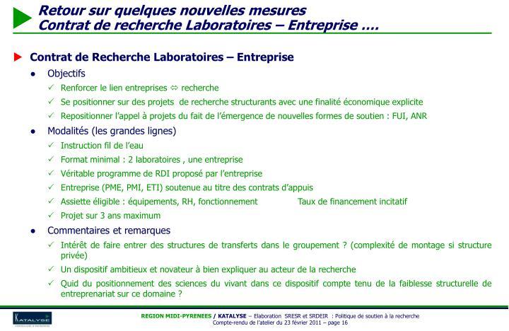 Contrat de Recherche Laboratoires – Entreprise