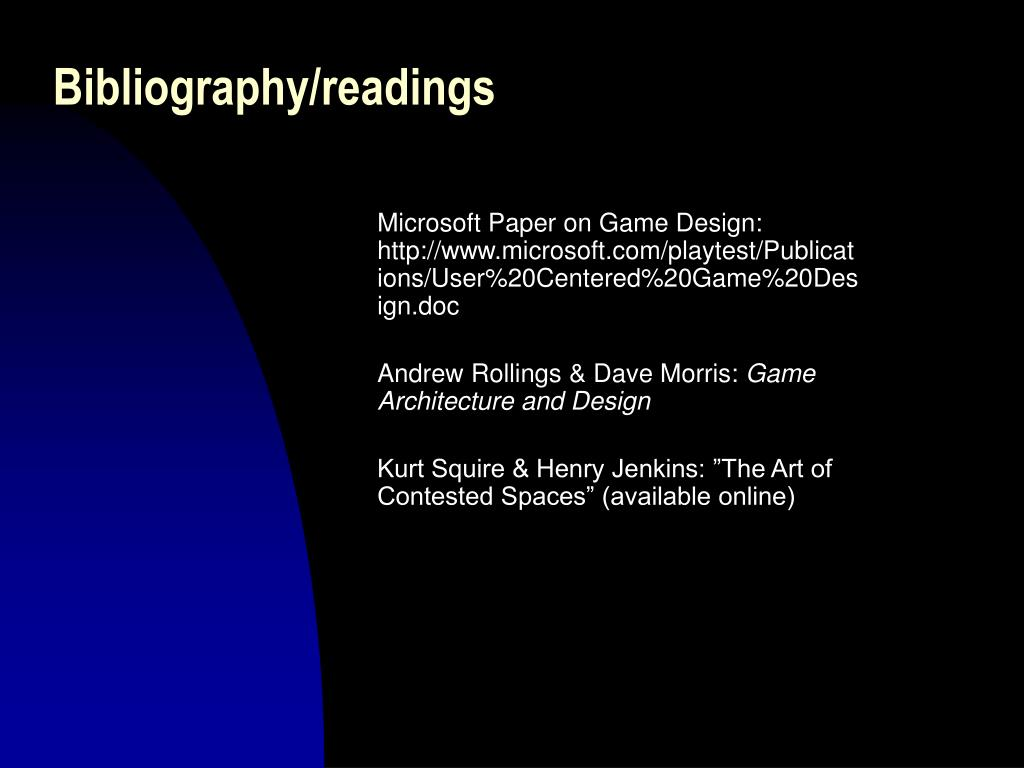 Bibliography/readings
