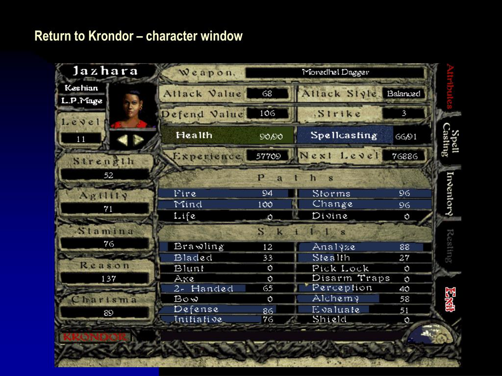 Return to Krondor – character window