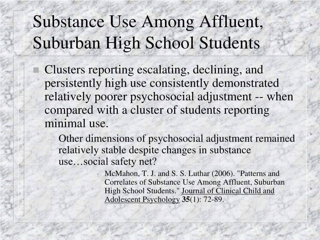 Substance Use Among Affluent, Suburban High School Students
