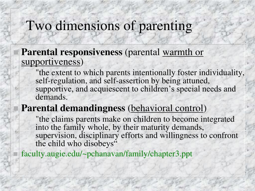 Two dimensions of parenting