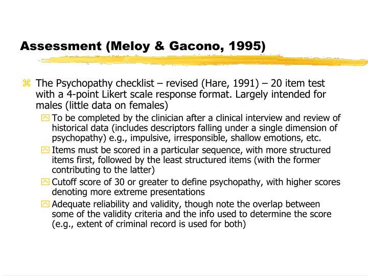 Assessment (Meloy & Gacono, 1995)