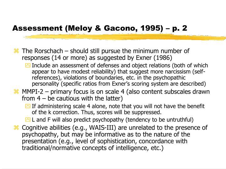 Assessment (Meloy & Gacono, 1995) – p. 2