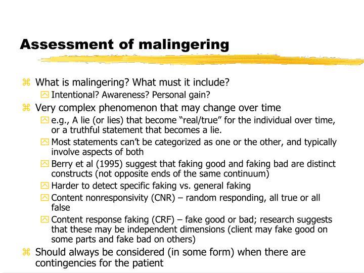Assessment of malingering