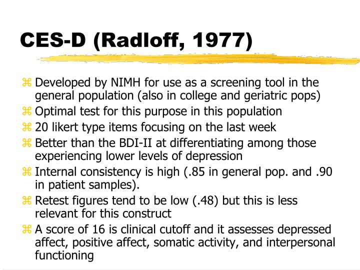 CES-D (Radloff, 1977)